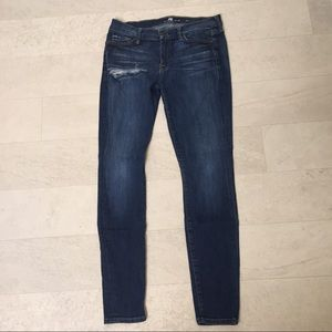 7 For All Mankind Jeans Sz 29 Skinny Ripped 74AM